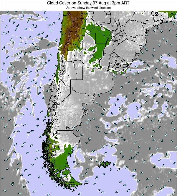 Uruguay Cloud Cover on Saturday 14 Dec at 9pm ART