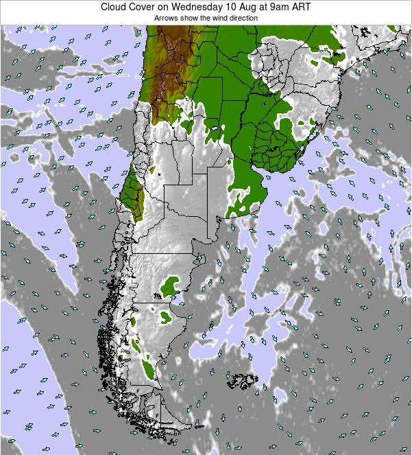 Uruguay Cloud Cover on Monday 04 Aug at 9am ART