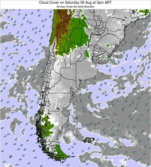 Uruguay Cloud Cover on Sunday 09 Mar at 3pm ART