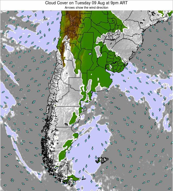 Uruguay Cloud Cover on Sunday 26 May at 3am ART