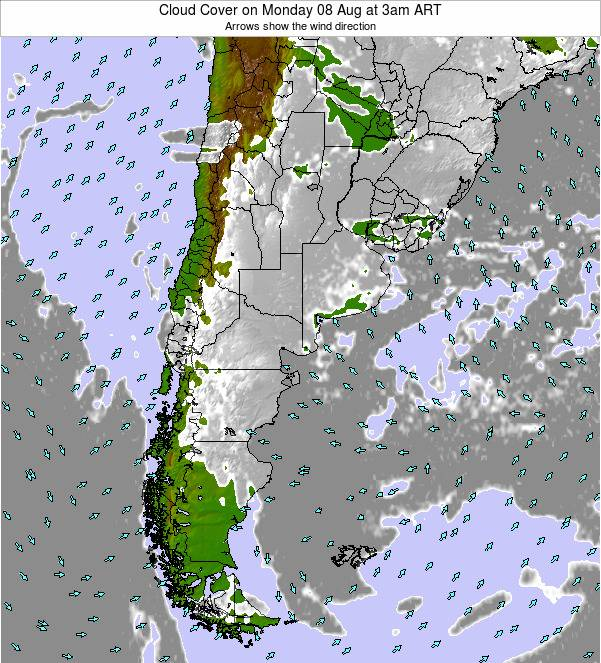 Argentina Cloud Cover on Wednesday 22 May at 9pm ART