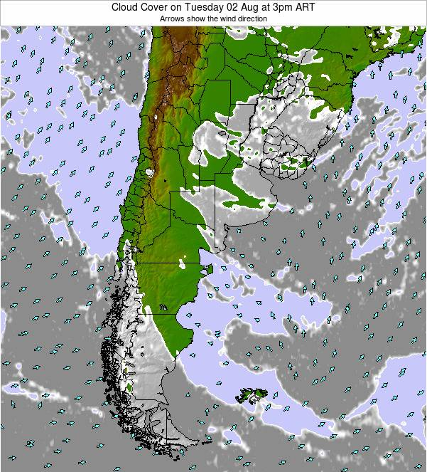 Uruguay Cloud Cover on Sunday 26 May at 9pm ART