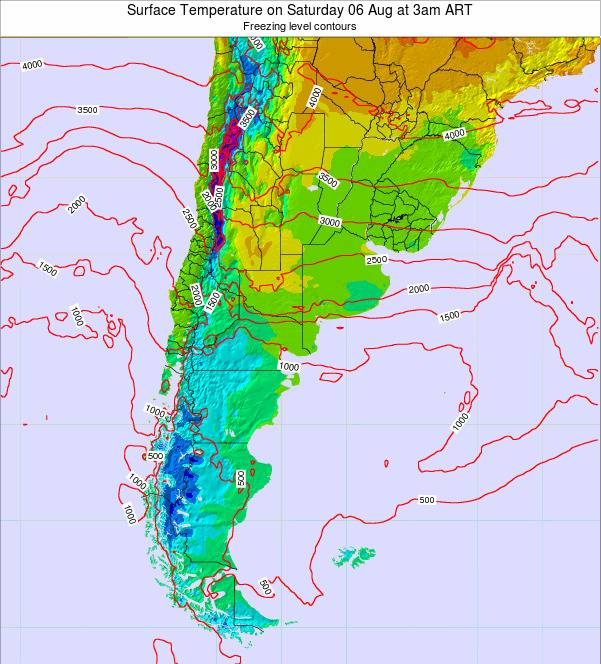 Argentina Surface Temperature on Monday 27 May at 3am ART map