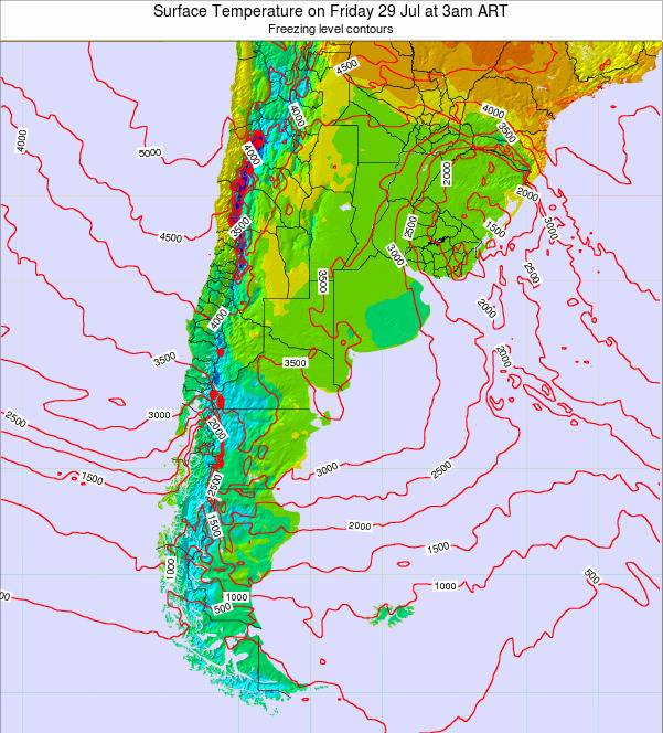 Argentina Surface Temperature on Monday 27 May at 9pm ART
