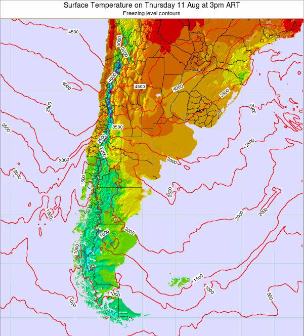 Argentina Surface Temperature on Thursday 23 May at 3pm ART map