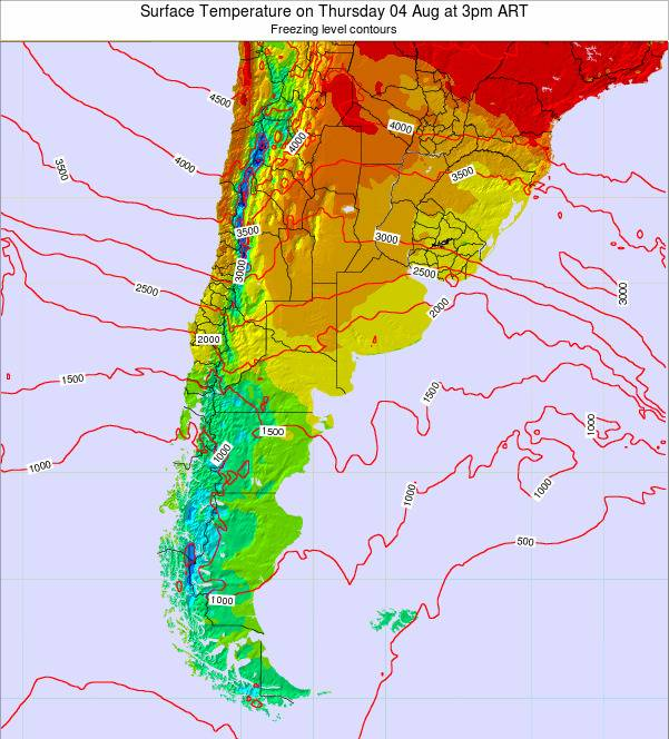 Argentina Surface Temperature on Thursday 23 May at 3pm ART