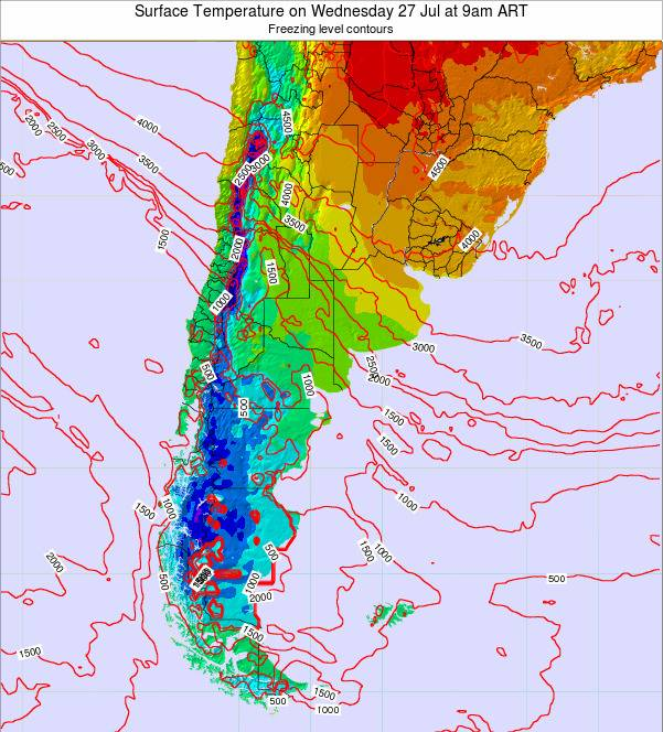 Argentina Surface Temperature on Monday 27 May at 9pm ART map