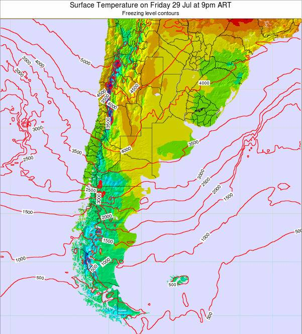 Argentina Surface Temperature on Tuesday 28 May at 3am ART map