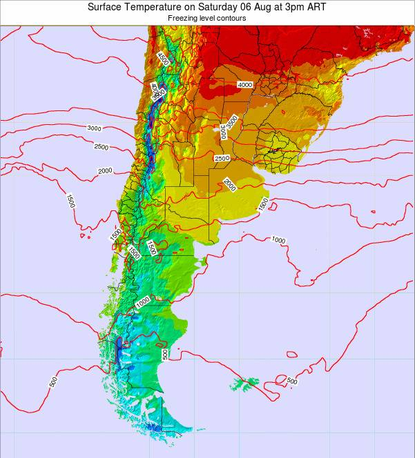 Argentina Surface Temperature on Monday 27 May at 3am ART