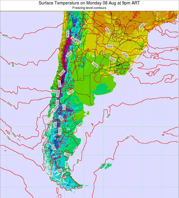 Argentina Surface Temperature on Wednesday 22 May at 3pm ART