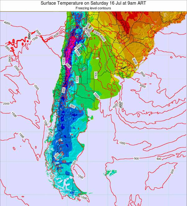 Argentina Surface Temperature on Monday 20 May at 9pm ART map