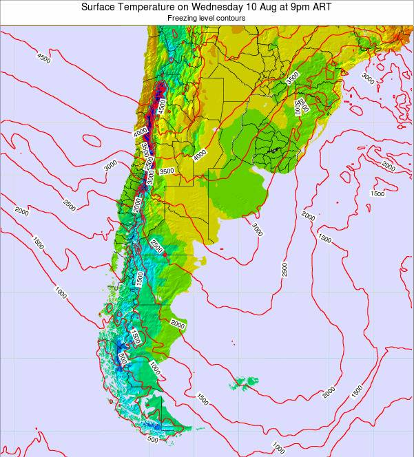 Argentina Surface Temperature on Tuesday 28 May at 9am ART map