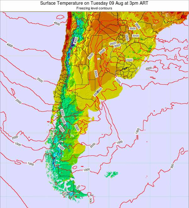 Argentina Surface Temperature on Saturday 22 Jun at 3pm ART