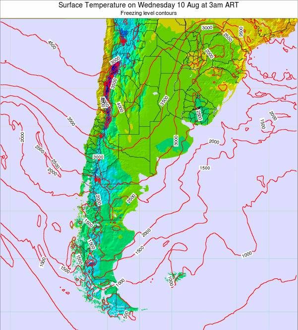 Argentina Surface Temperature on Tuesday 21 May at 3pm ART