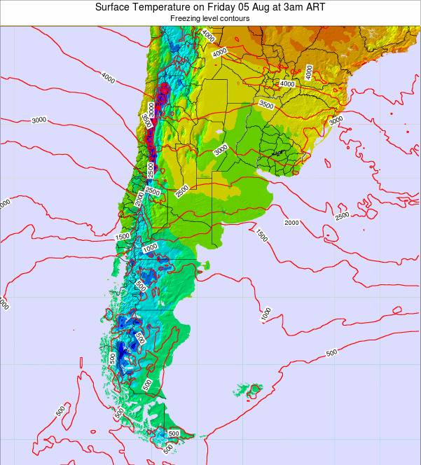 Argentina Surface Temperature on Friday 24 May at 9am ART map