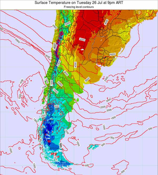 Argentina Surface Temperature on Friday 21 Jun at 9am ART