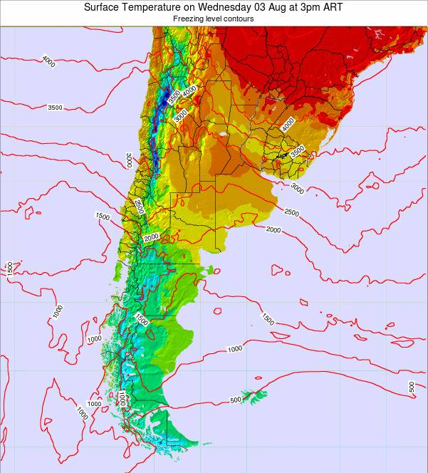 Argentina Surface Temperature on Saturday 25 May at 9am ART map