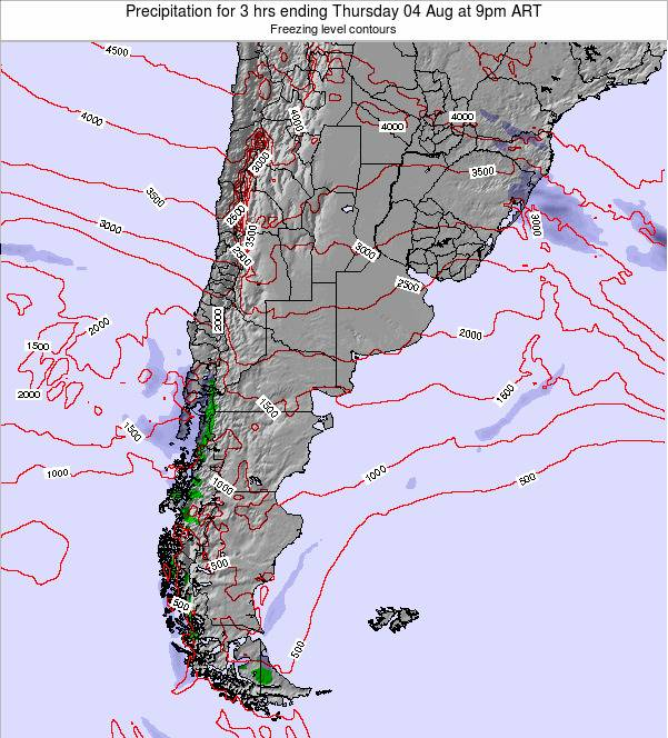 Argentina Precipitation for 3 hrs ending Tuesday 02 Aug at 9am ART