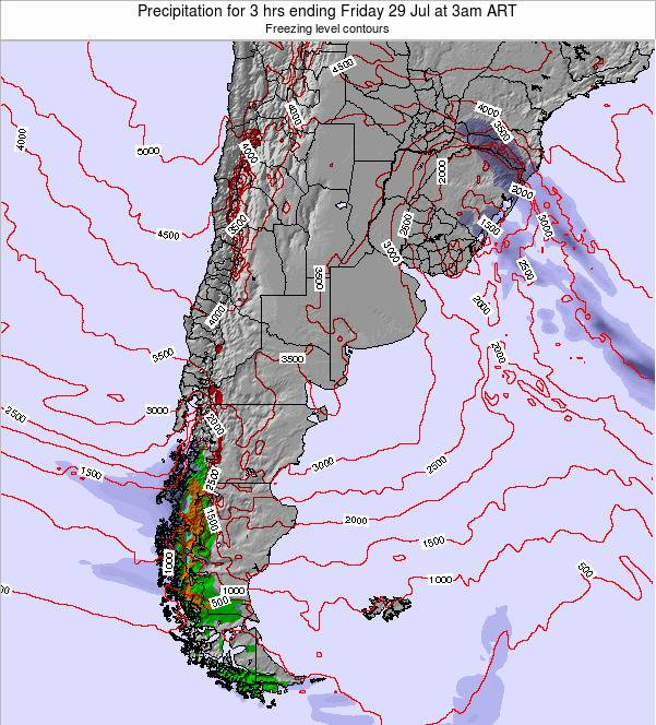 Argentina Precipitation for 3 hrs ending Tuesday 05 Aug at 3am ART