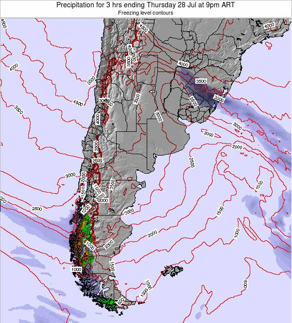 Argentina Precipitation for 3 hrs ending Tuesday 28 Feb at 9am ART