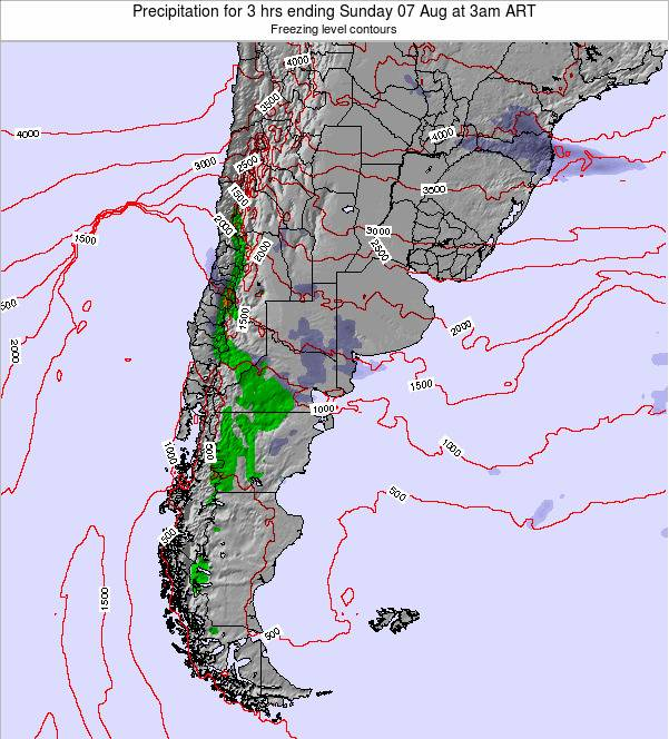 Argentina Precipitation for 3 hrs ending Tuesday 10 Dec at 9pm ART