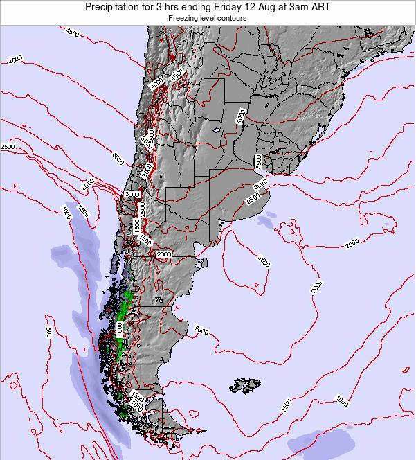 Argentina Precipitation for 3 hrs ending Monday 04 Aug at 9pm ART