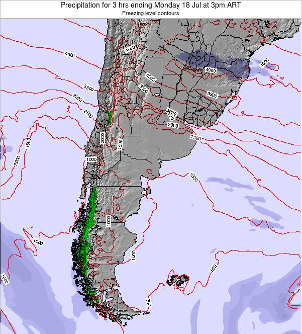 Argentina Precipitation for 3 hrs ending Monday 24 Jun at 3pm ART