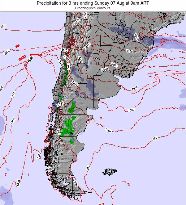 Argentina Precipitation for 3 hrs ending Thursday 04 Jun at 9pm ART