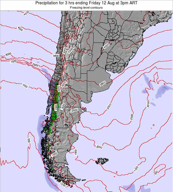 Argentina Precipitation for 3 hrs ending Saturday 25 May at 9pm ART