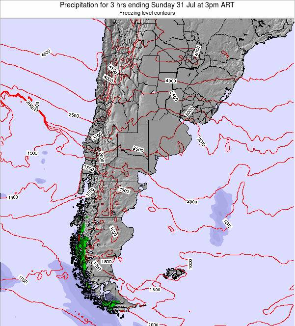 Argentina Precipitation for 3 hrs ending Monday 17 Mar at 9am ART