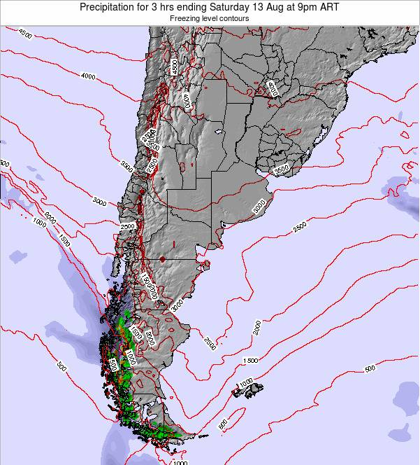 Argentina Precipitation for 3 hrs ending Tuesday 17 Dec at 9pm ART
