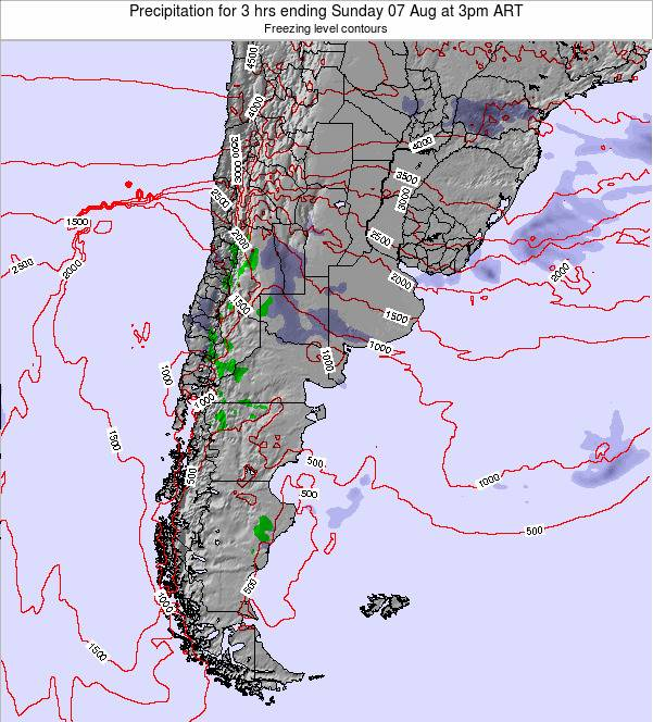 Argentina Precipitation for 3 hrs ending Sunday 03 Aug at 3am ART