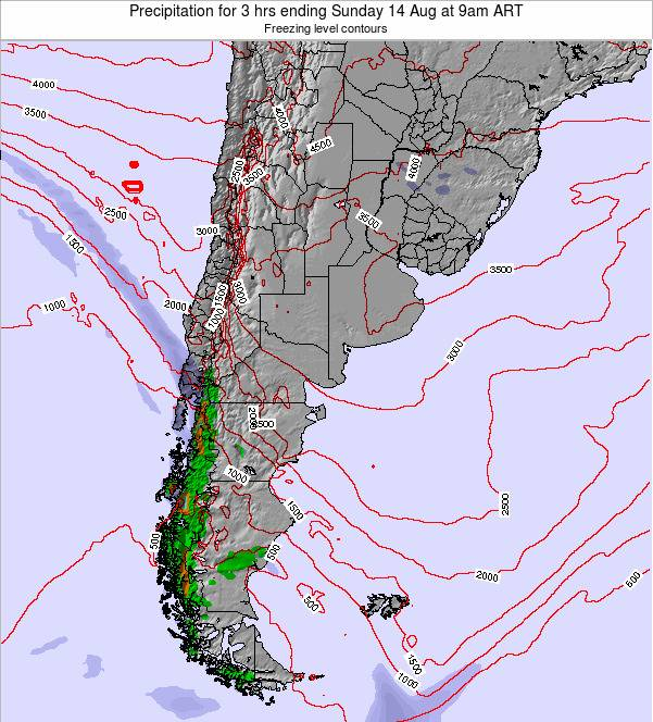 Argentina Precipitation for 3 hrs ending Wednesday 26 Jun at 3pm ART map