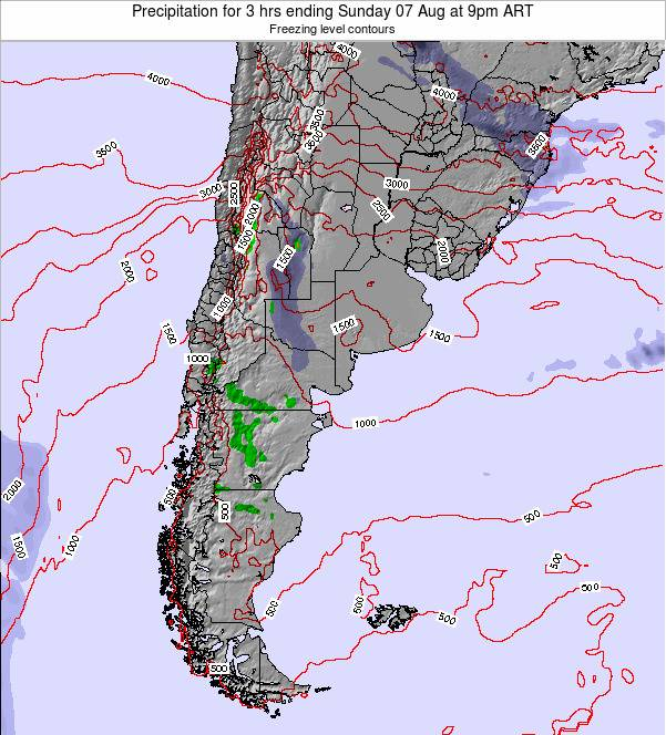 Argentina Precipitation for 3 hrs ending Thursday 23 May at 9pm ART map