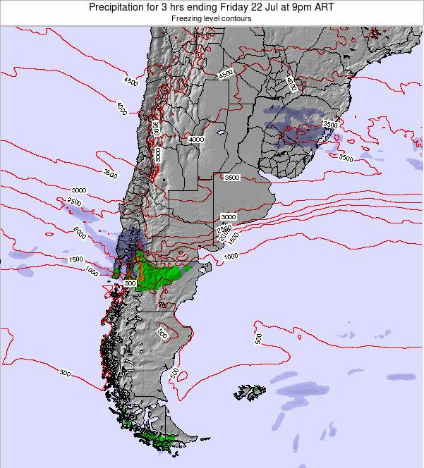 Argentina Precipitation for 3 hrs ending Wednesday 19 Jun at 9am ART