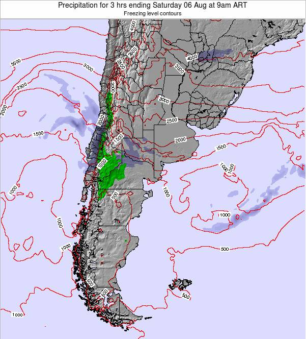 Uruguay Precipitation for 3 hrs ending Monday 27 Feb at 3pm ART