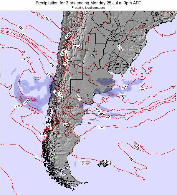 Uruguay Precipitation for 3 hrs ending Saturday 23 Aug at 3am ART