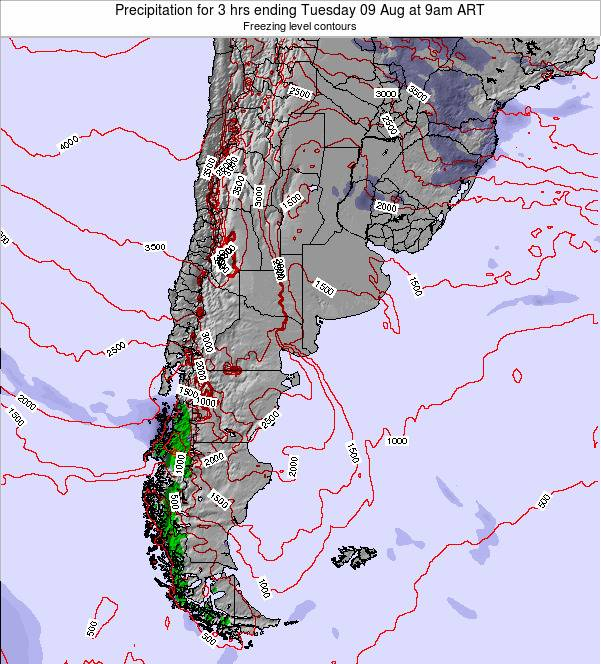 Uruguay Precipitation for 3 hrs ending Wednesday 23 Apr at 3pm ART
