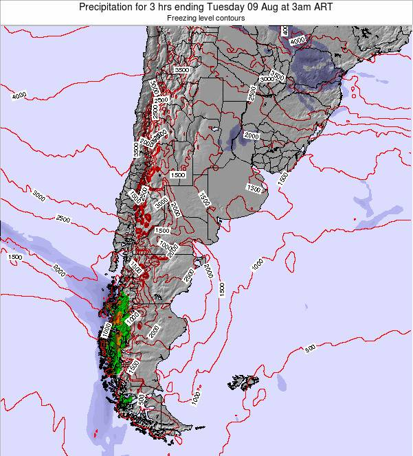 Uruguay Precipitation for 3 hrs ending Wednesday 12 Mar at 3pm ART