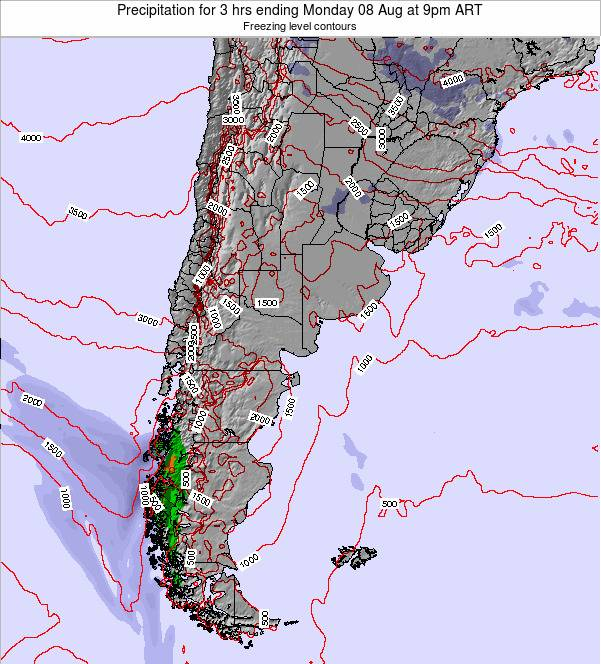Uruguay Precipitation for 3 hrs ending Sunday 27 Apr at 9am ART