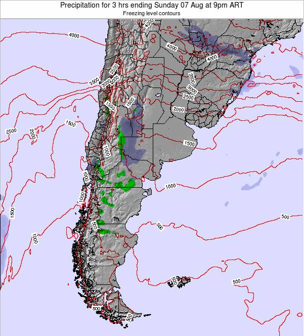Uruguay Precipitation for 3 hrs ending Thursday 31 Jul at 9am ART