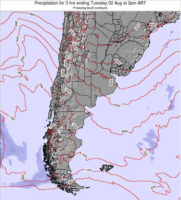 Argentina Precipitation for 3 hrs ending Monday 28 Apr at 3am ART