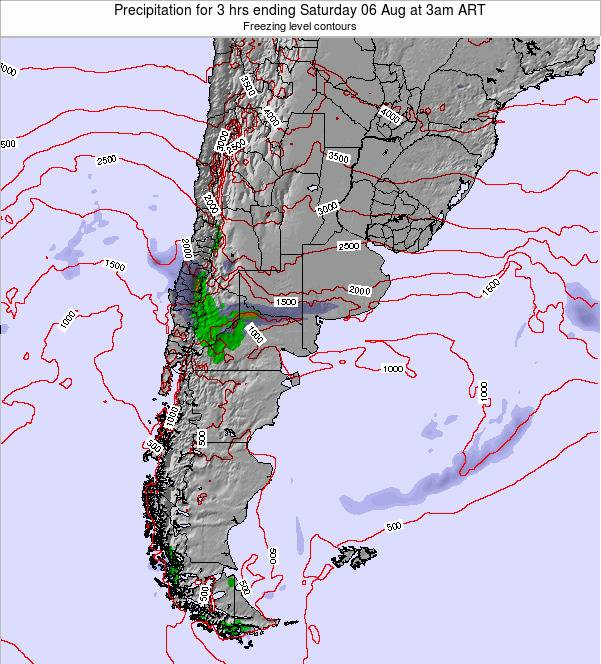 Argentina Precipitation for 3 hrs ending Sunday 08 Dec at 9am ART