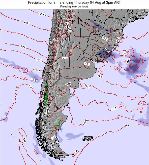 Argentina Precipitation for 3 hrs ending Thursday 13 Mar at 3am ART