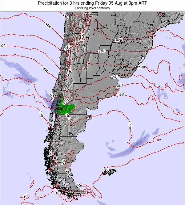 Argentina Precipitation for 3 hrs ending Saturday 25 Feb at 9pm ART
