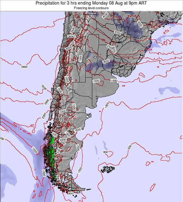 Argentina Precipitation for 3 hrs ending Sunday 27 Apr at 9pm ART
