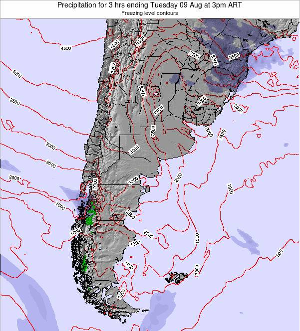 Argentina Precipitation for 3 hrs ending Monday 04 Aug at 9am ART