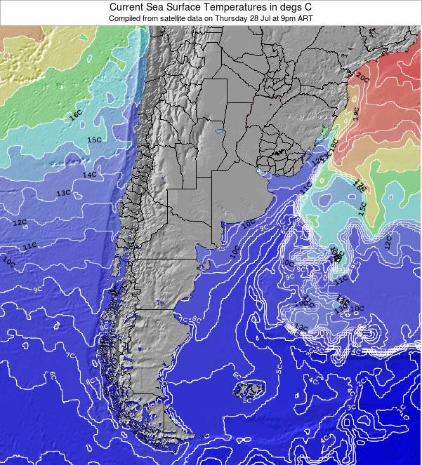 Uruguay Sea Temperature Map