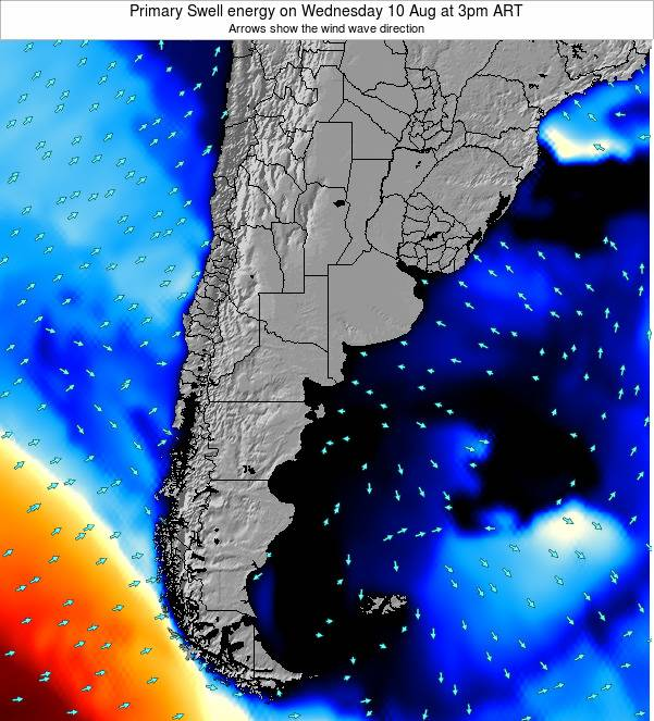 Uruguay Primary Swell energy on Saturday 25 Apr at 9am ART