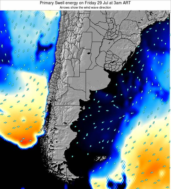 Uruguay Primary Swell energy on Friday 01 Aug at 9pm ART